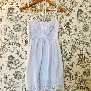 Papaya White Eyelet Lace Linen Dress